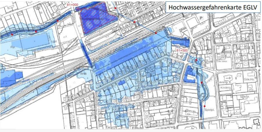 Diese Karte ist Teil der Starkregen-Gefahrenkarte für die Gemeinde Holzwickede. Die blauen Bereiche zeigen die hochwassergefährdeten Bereiche im Ortskern. (Foto: EGLV)