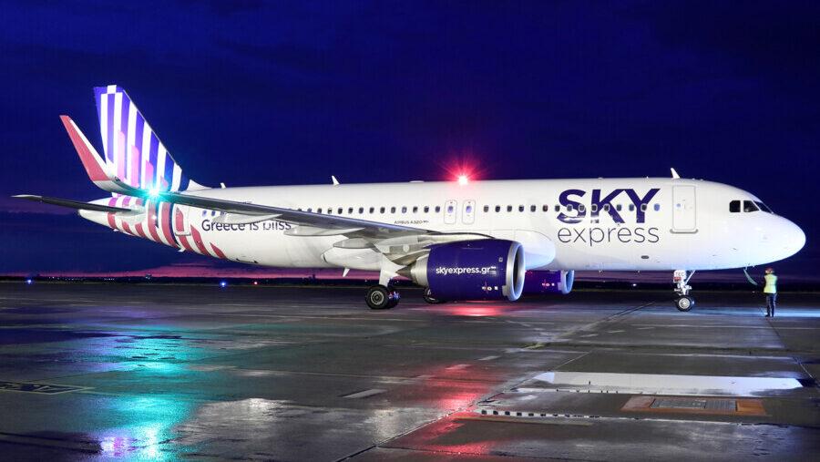 Am Sonntag hob der Airbus A320neo der SKY express zum Erstflug von Dortmund nach Heraklion ab. Im Oktober fliegt die griechische Fluggesellschaft nun zweimal wöchentlich von Dortmund nach Kreta. (Foto: Dortmund Airport   Sascha Kamrau)